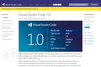 Visual Studio Code 1.0! - Visual Studio Code が v1.0 に